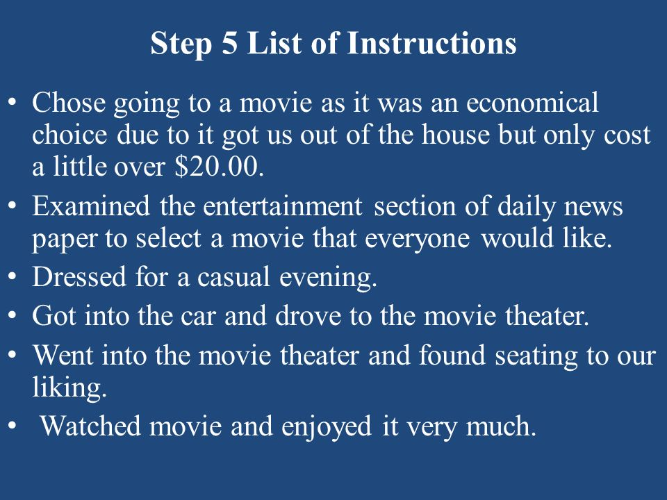 Step 5 List of Instructions