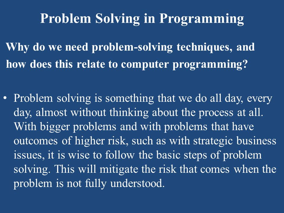 Problem Solving in Programming