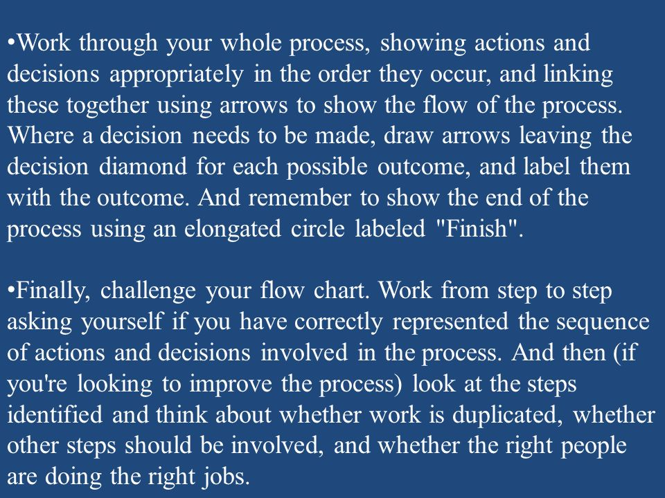 Work through your whole process, showing actions and decisions appropriately in the order they occur, and linking these together using arrows to show the flow of the process. Where a decision needs to be made, draw arrows leaving the decision diamond for each possible outcome, and label them with the outcome. And remember to show the end of the process using an elongated circle labeled Finish .
