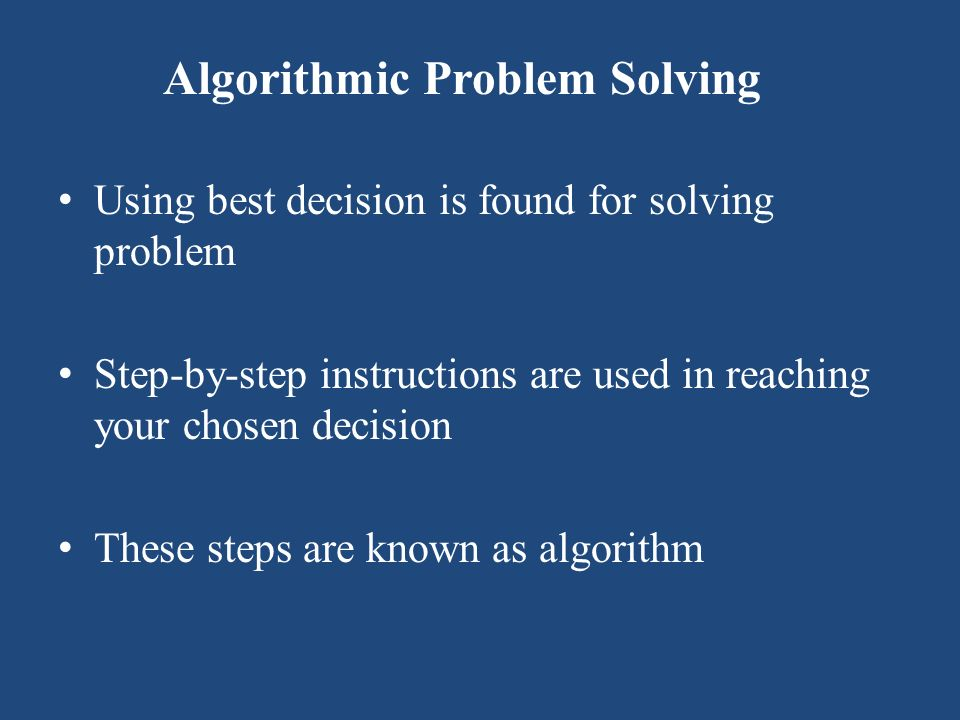 Algorithmic Problem Solving