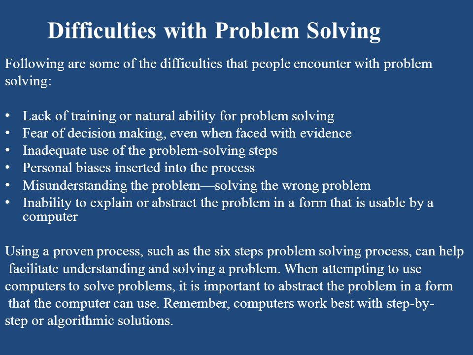Difficulties with Problem Solving