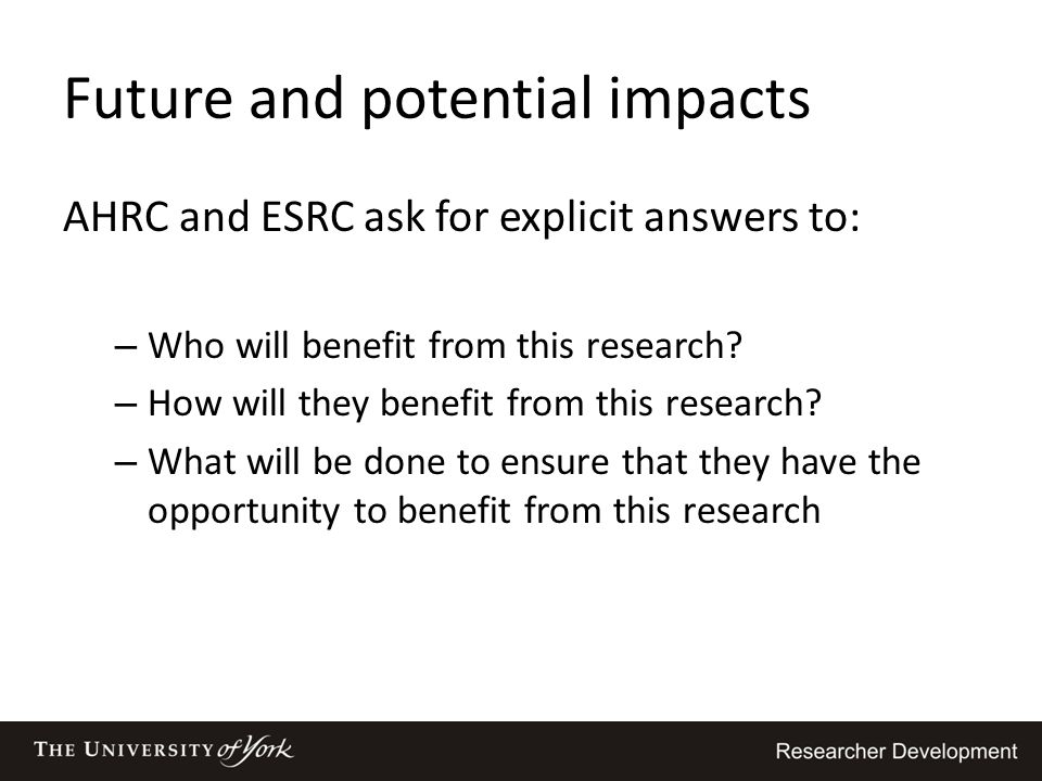 Future and potential impacts