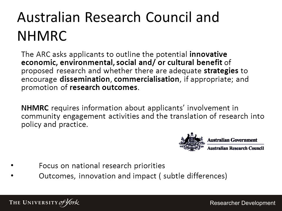 Australian Research Council and NHMRC