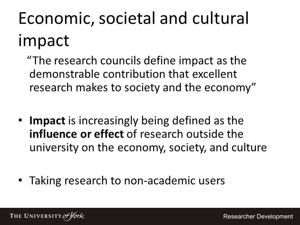 Economic, societal and cultural impact