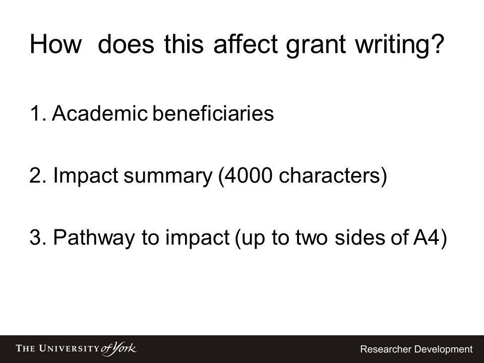 How does this affect grant writing