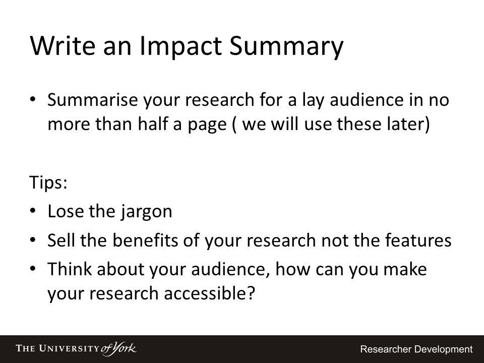Write an Impact Summary