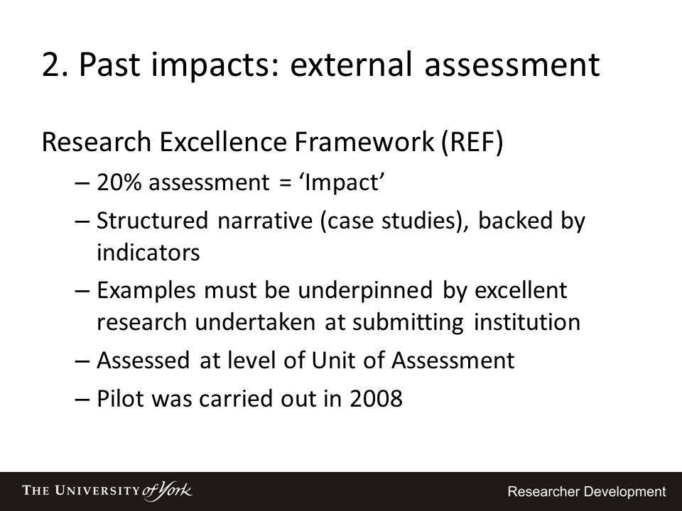 2. Past impacts: external assessment