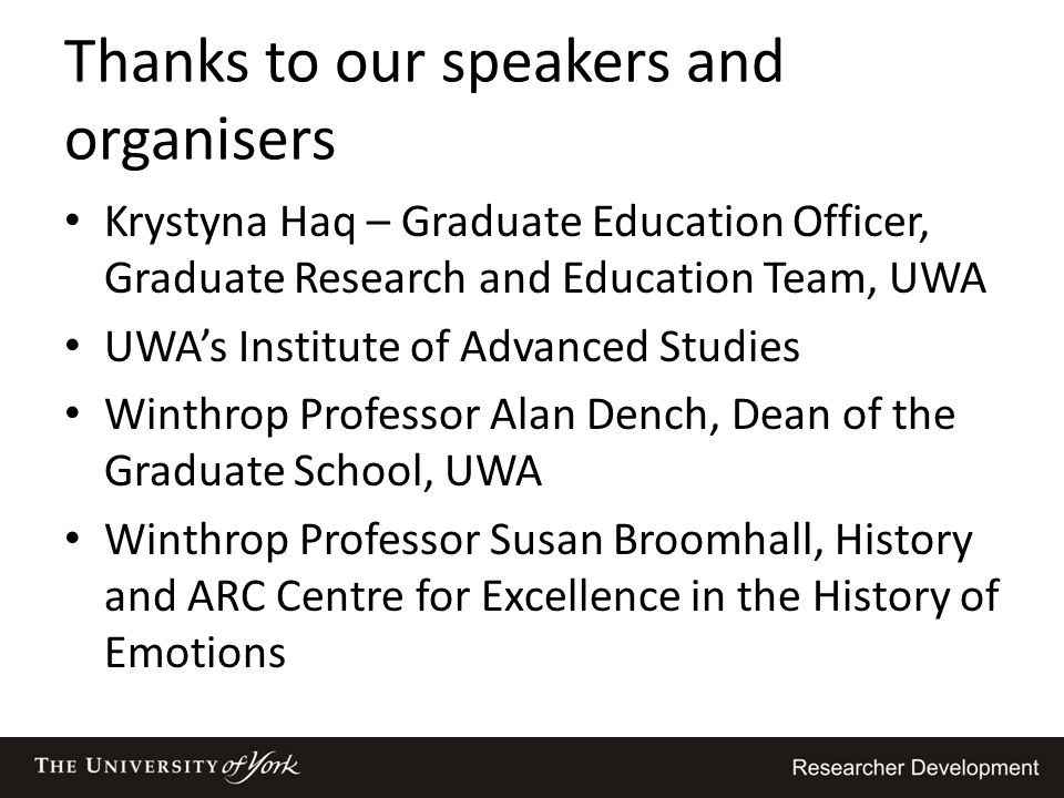Thanks to our speakers and organisers