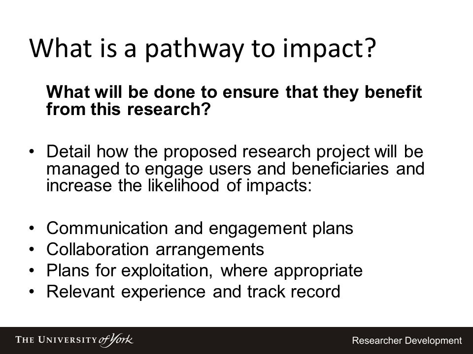 What is a pathway to impact