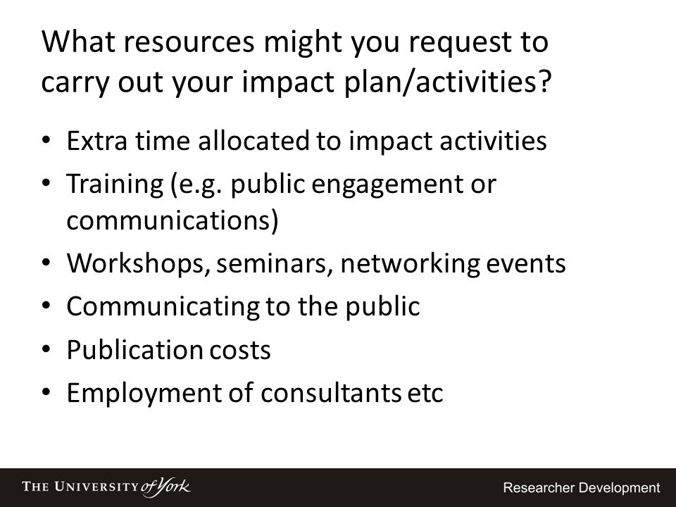 What resources might you request to carry out your impact plan/activities