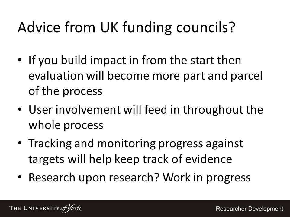Advice from UK funding councils