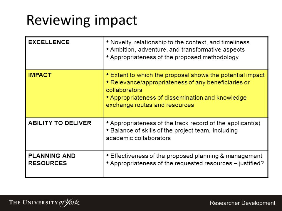 Reviewing impact EXCELLENCE