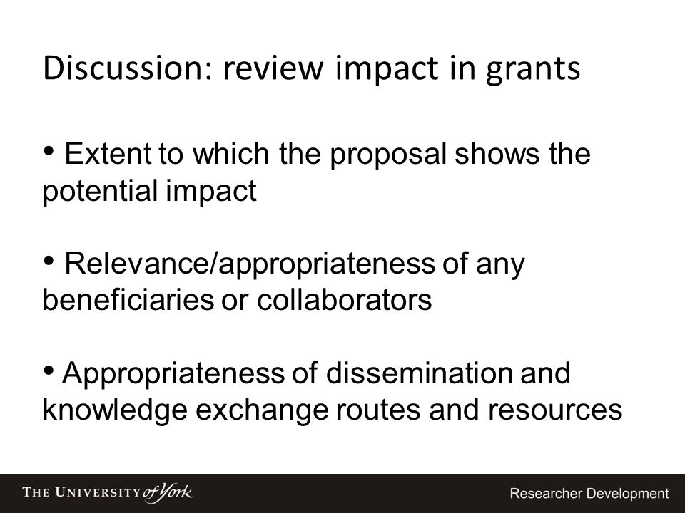 Discussion: review impact in grants