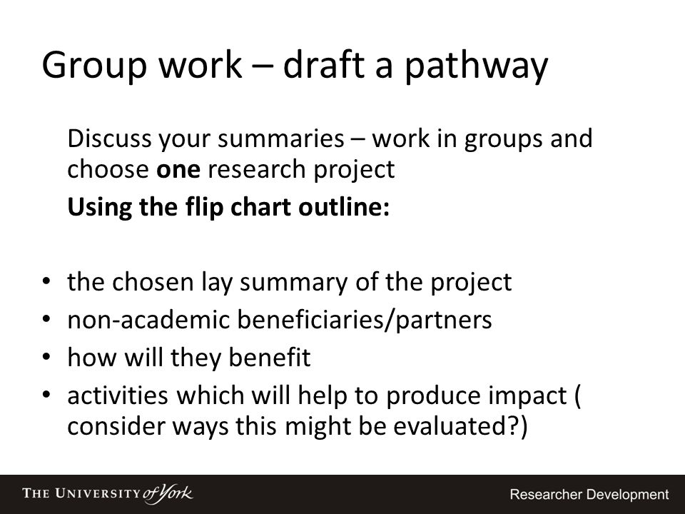 Group work – draft a pathway