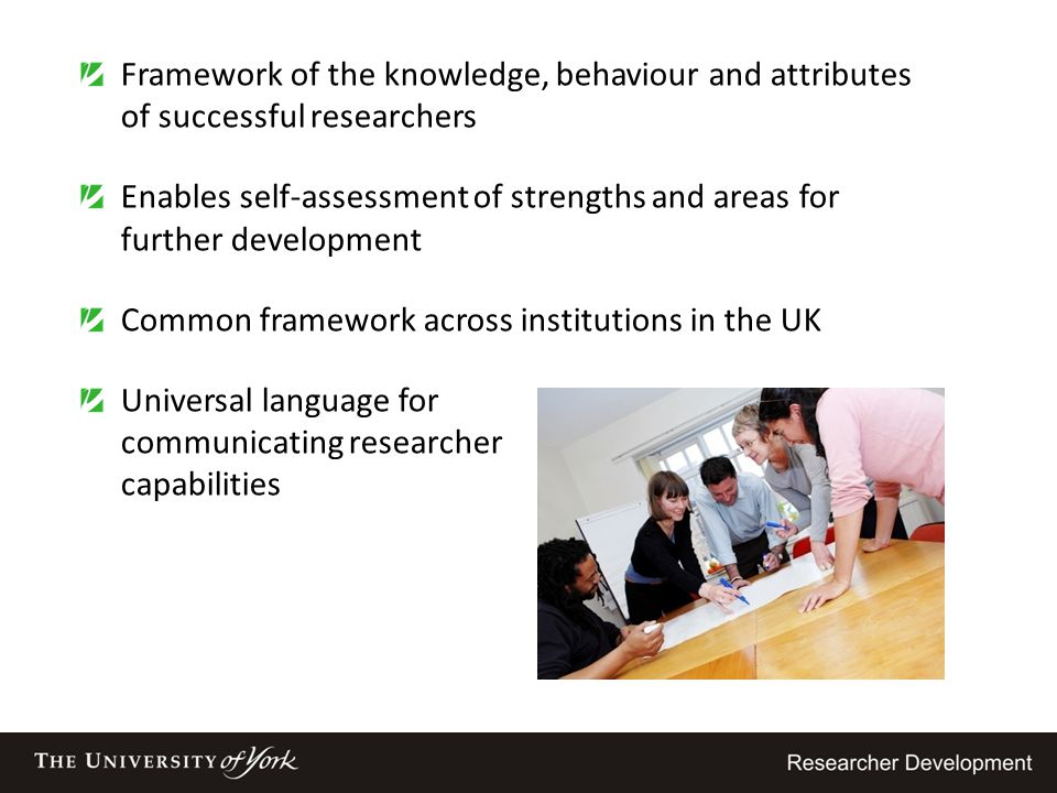 Framework of the knowledge, behaviour and attributes of successful researchers