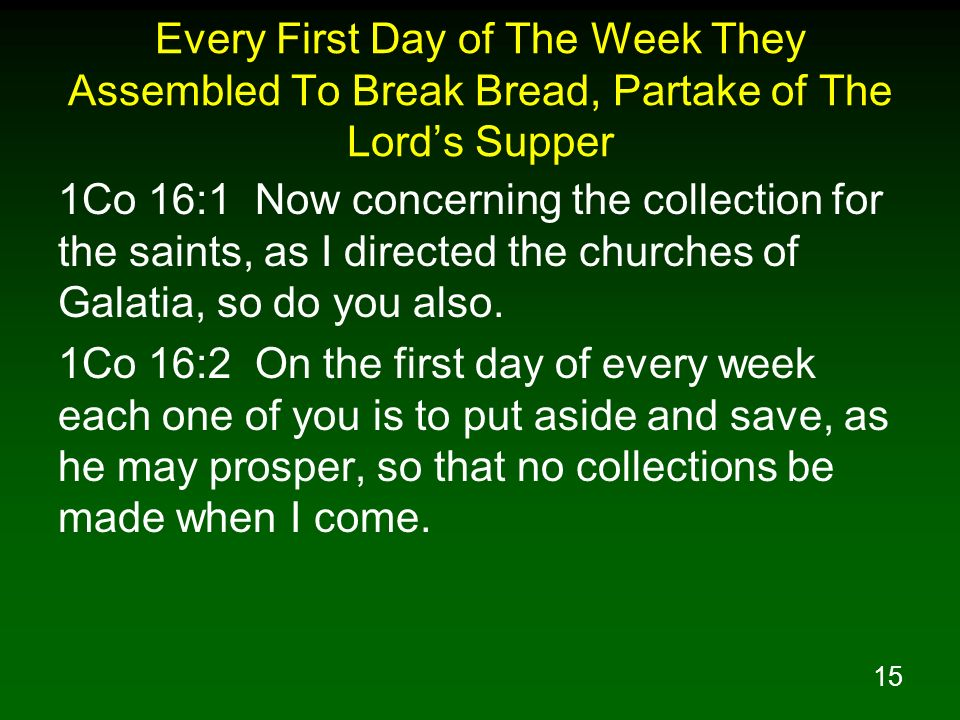 Every First Day of The Week They Assembled To Break Bread, Partake of The Lord's Supper