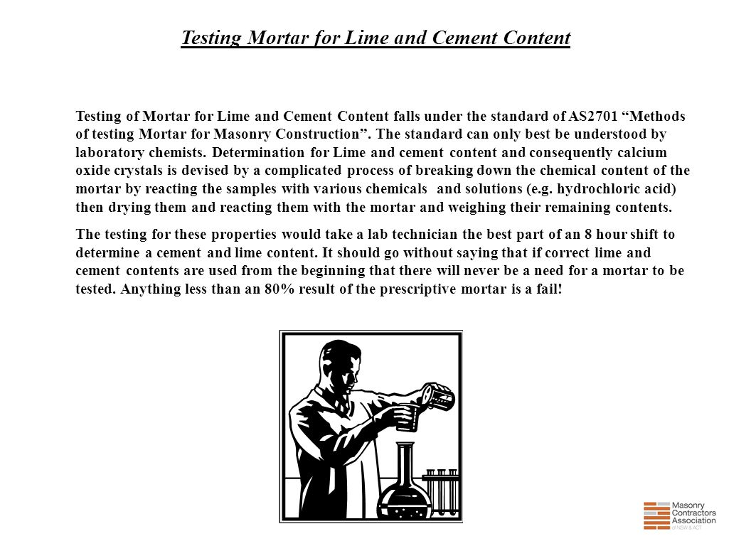 Testing Mortar for Lime and Cement Content