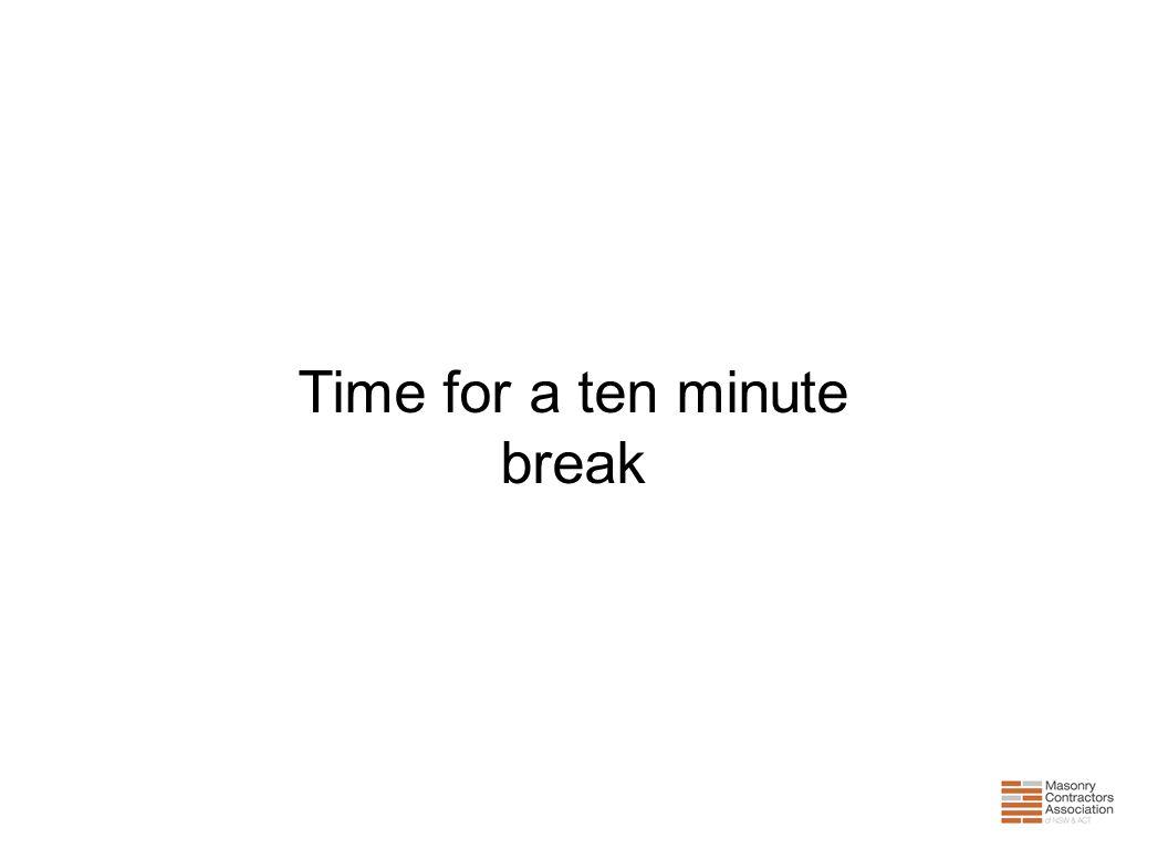 Time for a ten minute break