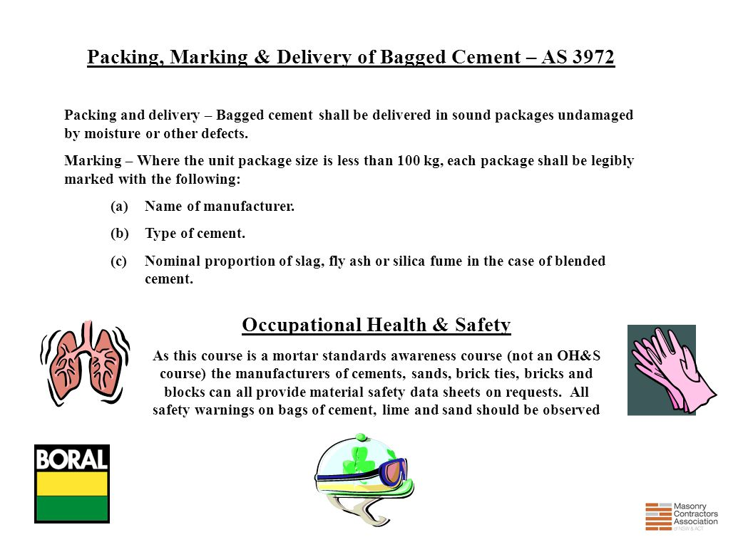 Packing, Marking & Delivery of Bagged Cement – AS 3972
