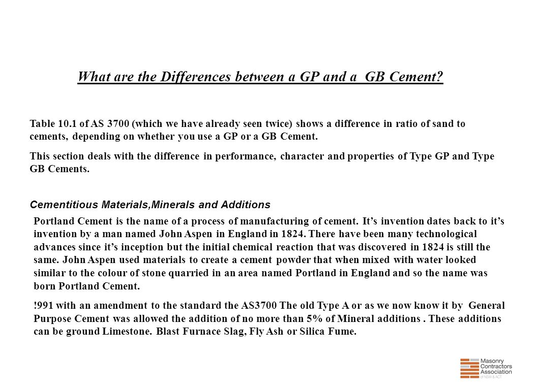 What are the Differences between a GP and a GB Cement