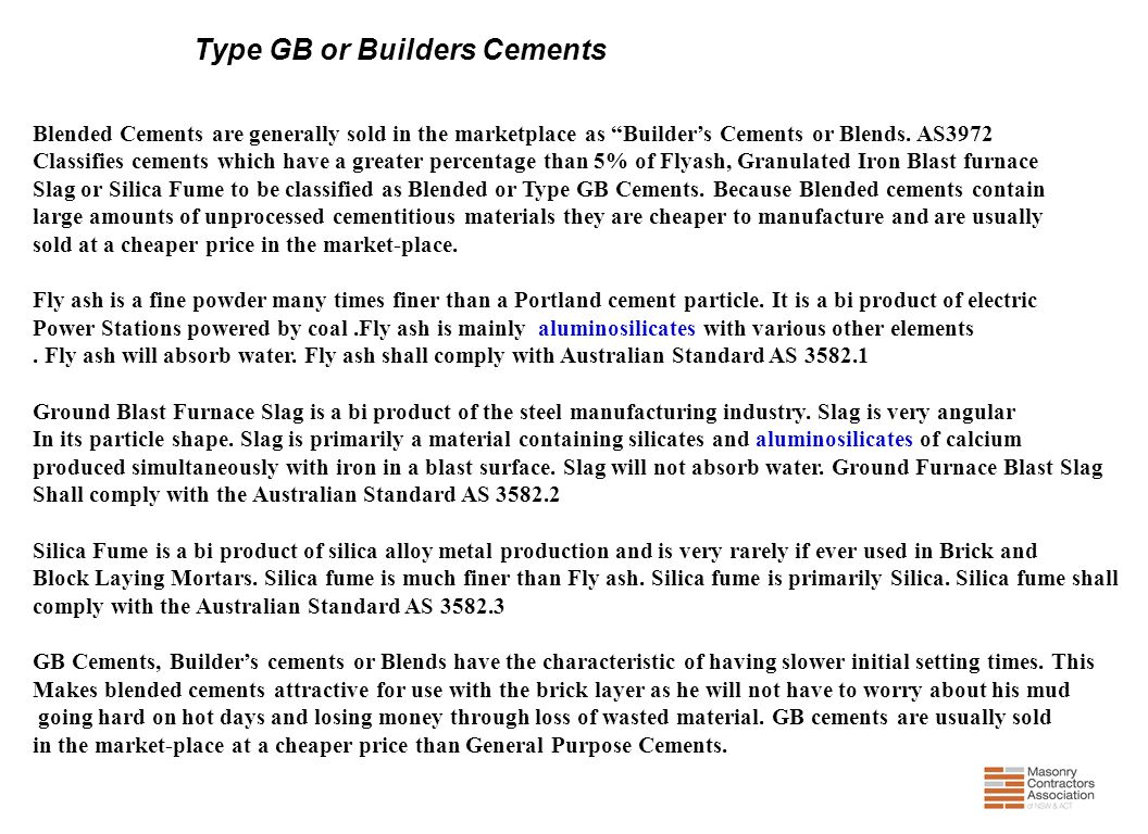 Type GB or Builders Cements
