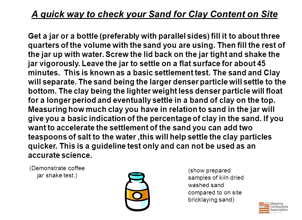 A quick way to check your Sand for Clay Content on Site