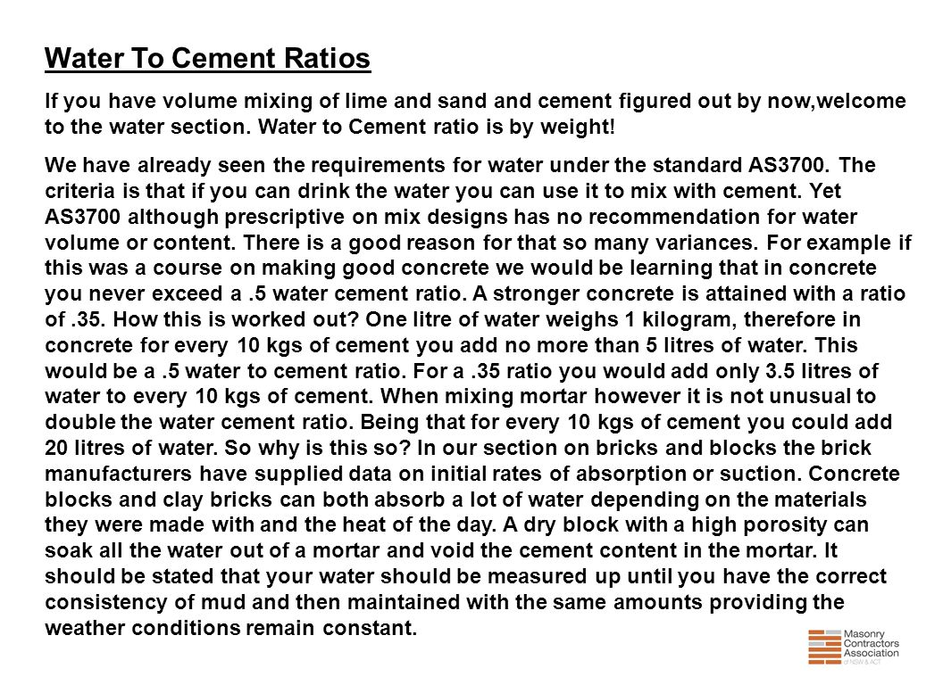 Water To Cement Ratios