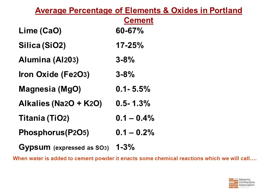 Average Percentage of Elements & Oxides in Portland Cement