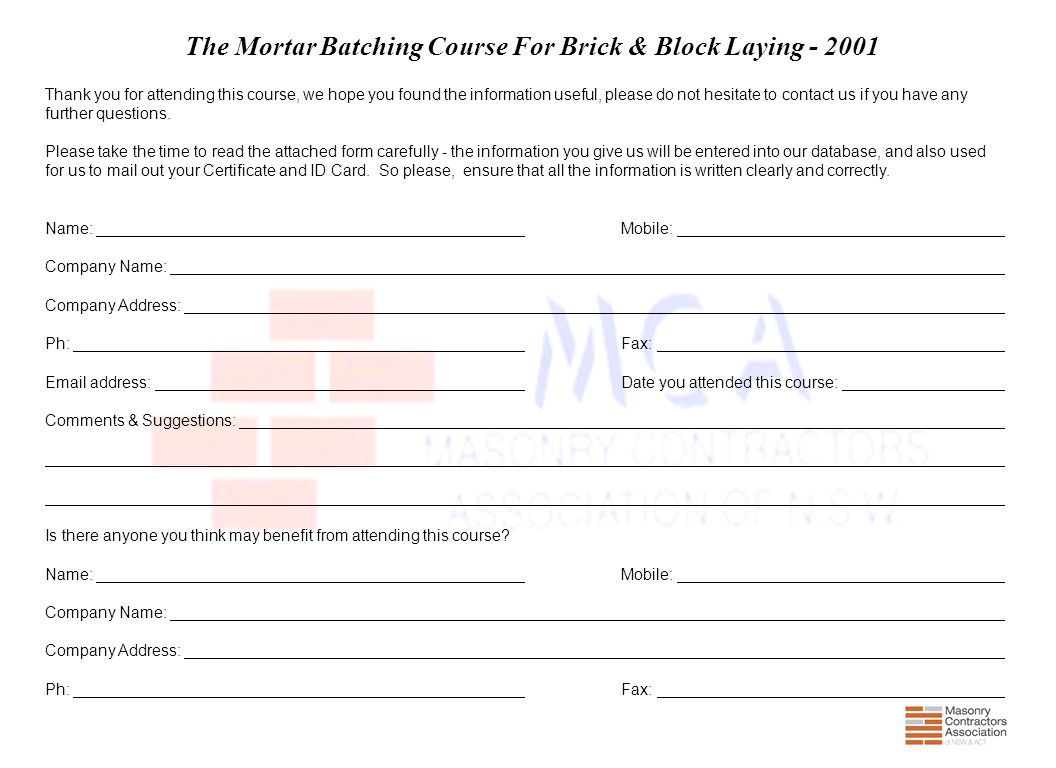 The Mortar Batching Course For Brick & Block Laying - 2001