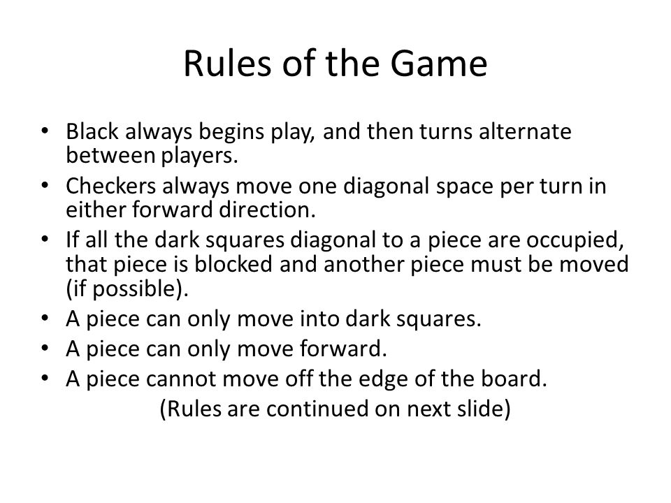 (Rules are continued on next slide)