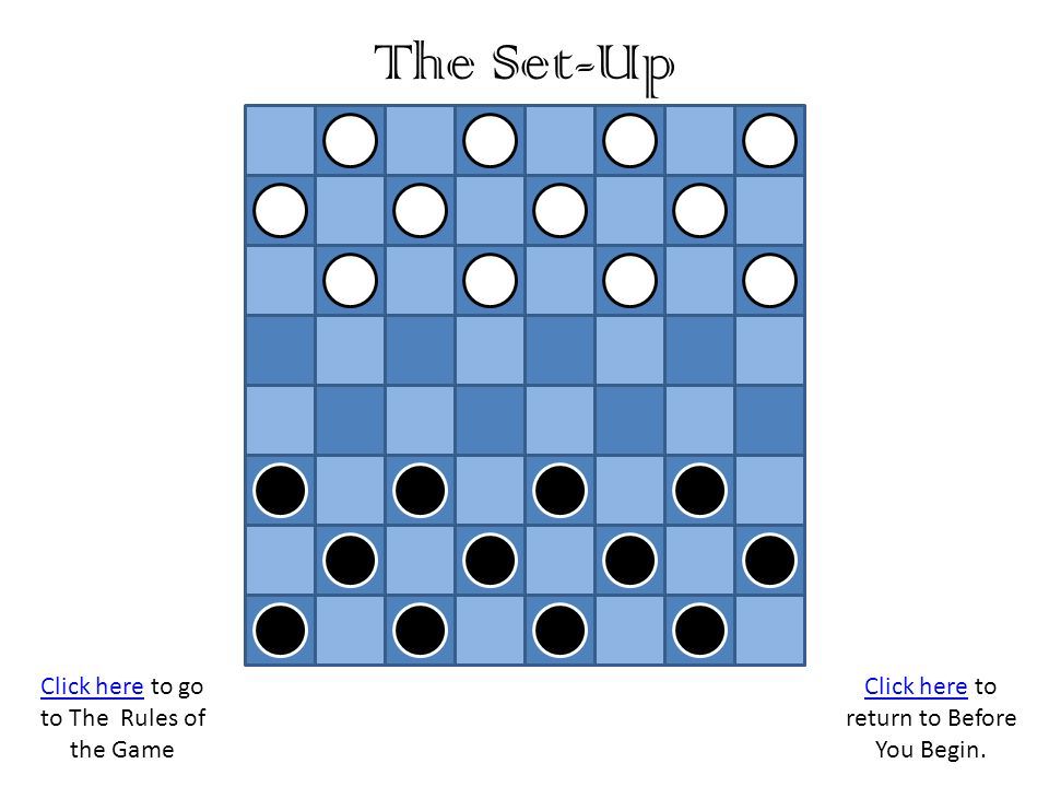 The Set-Up Click here to go to The Rules of the Game