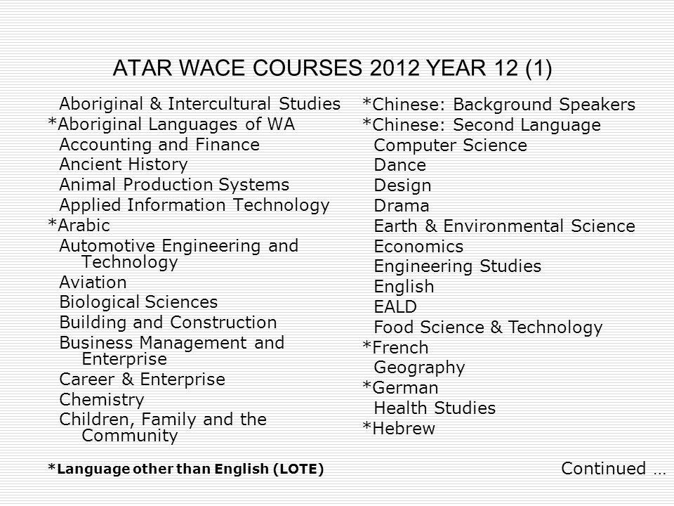 ATAR WACE COURSES 2012 YEAR 12 (1)