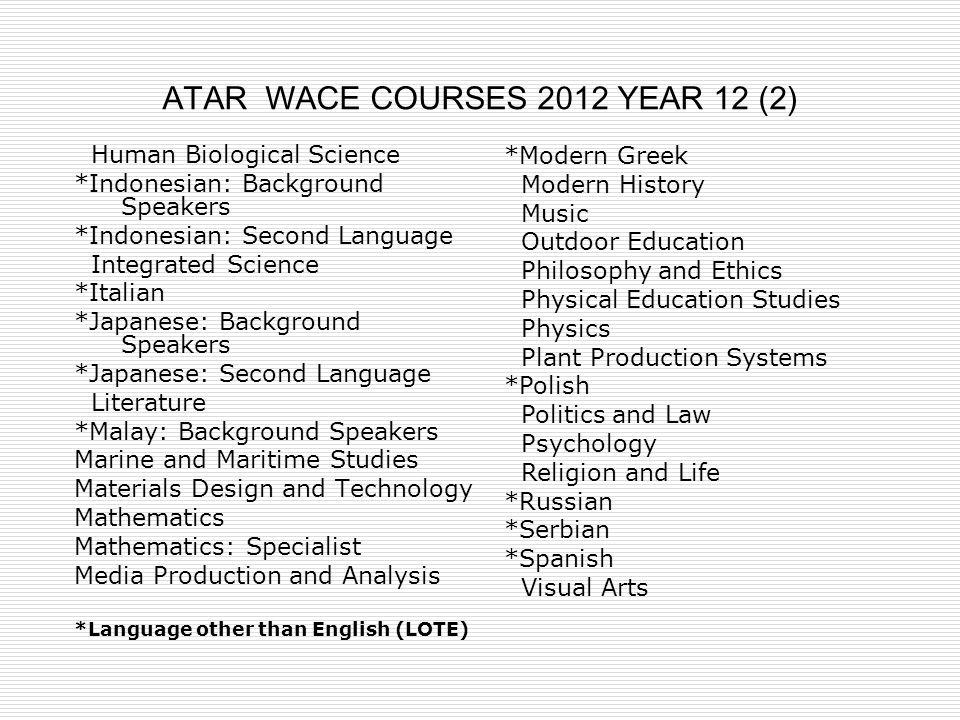 ATAR WACE COURSES 2012 YEAR 12 (2)