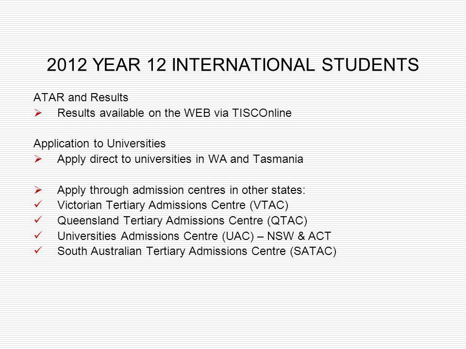 2012 YEAR 12 INTERNATIONAL STUDENTS