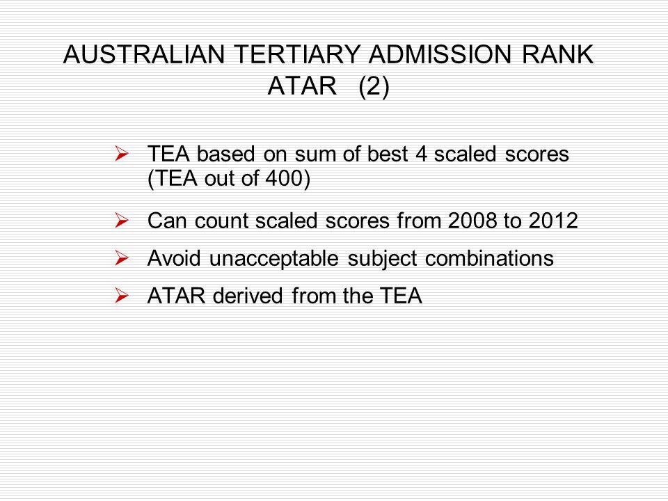 AUSTRALIAN TERTIARY ADMISSION RANK ATAR (2)