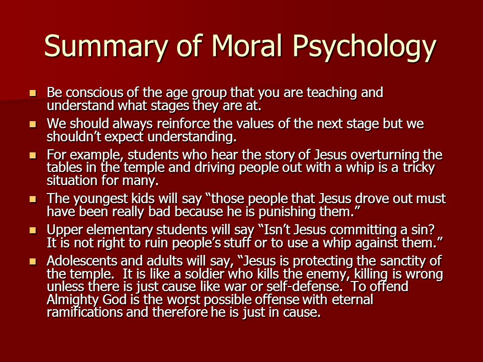 Summary of Moral Psychology