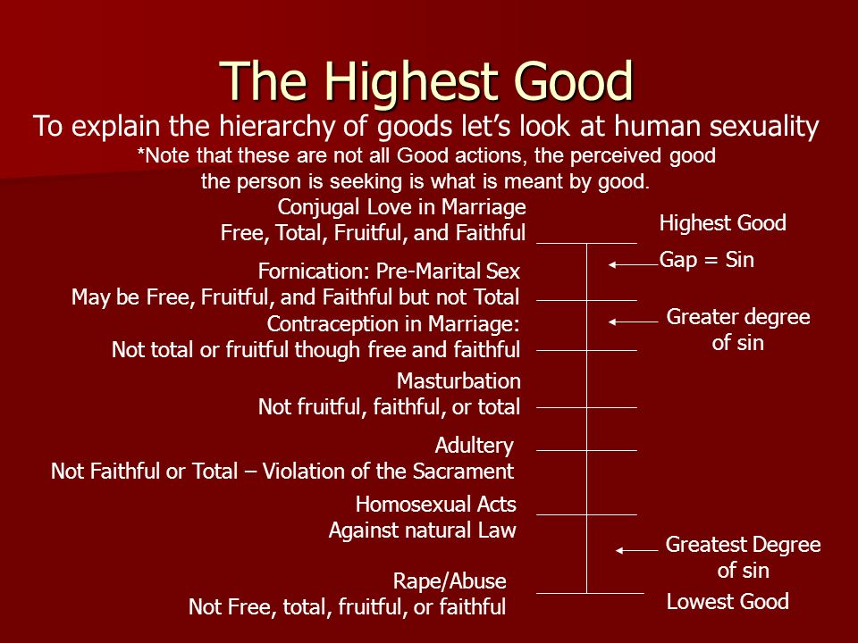 To explain the hierarchy of goods let's look at human sexuality