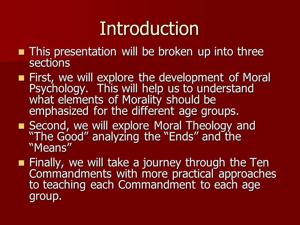 Introduction This presentation will be broken up into three sections