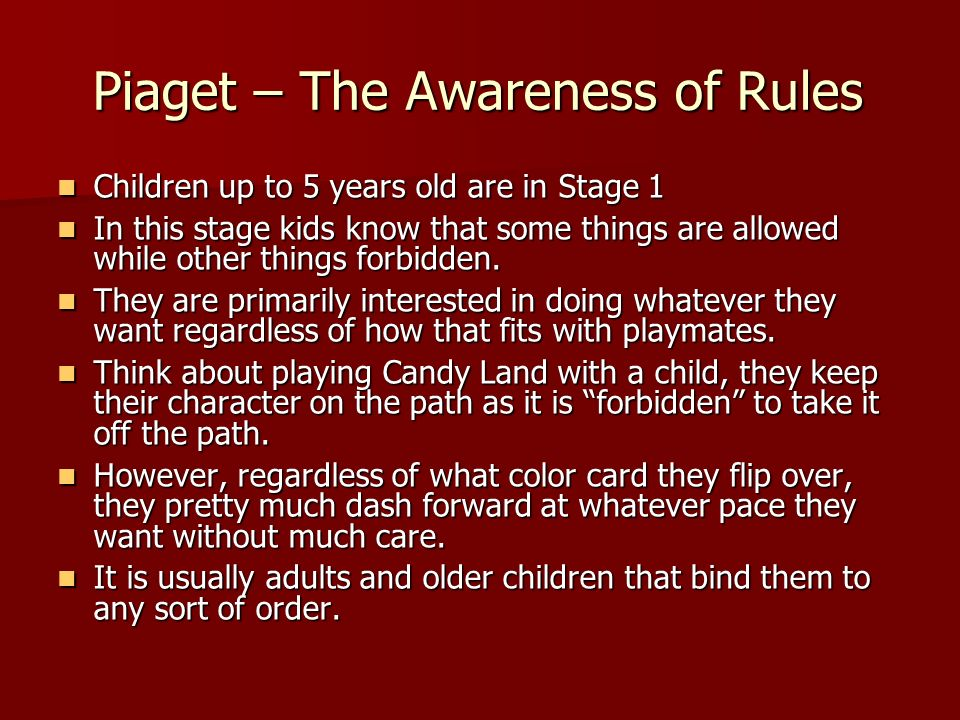 Piaget – The Awareness of Rules