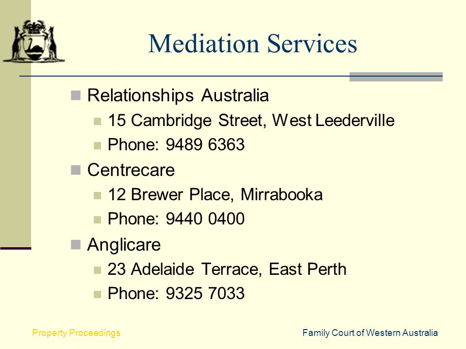 Mediation Services Relationships Australia Centrecare Anglicare