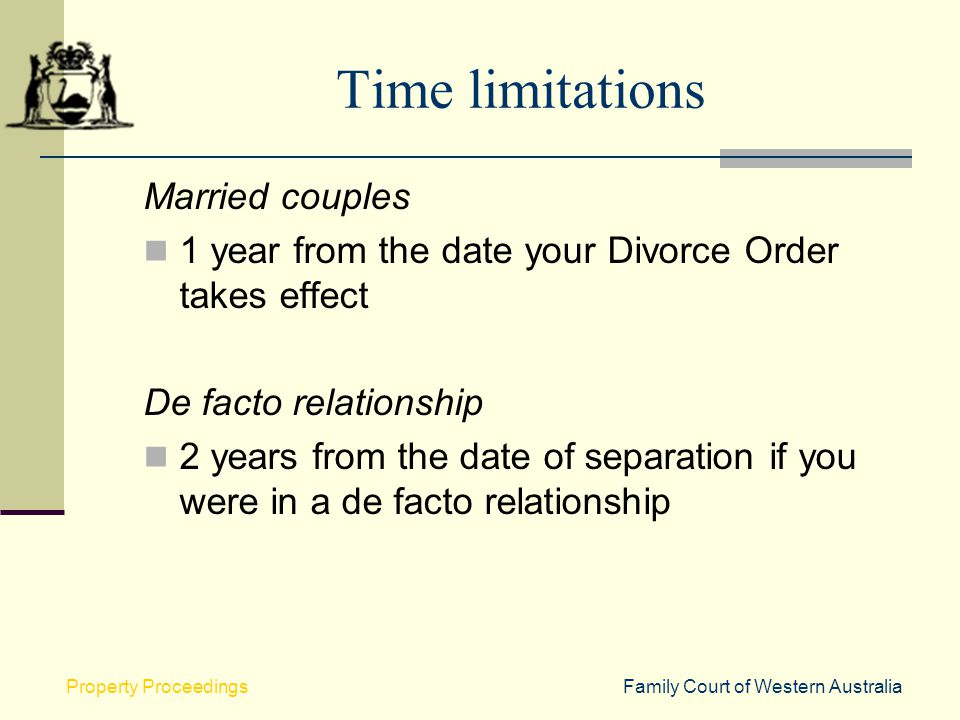 Time limitations Married couples