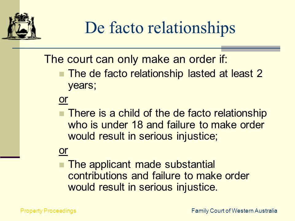 De facto relationships