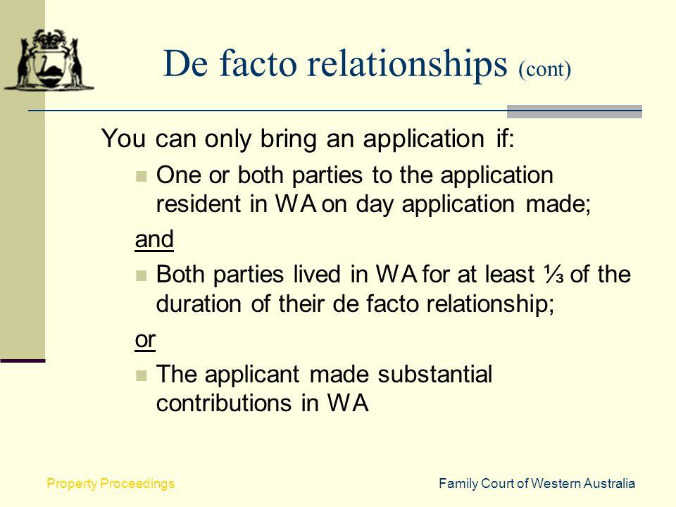 De facto relationships (cont)
