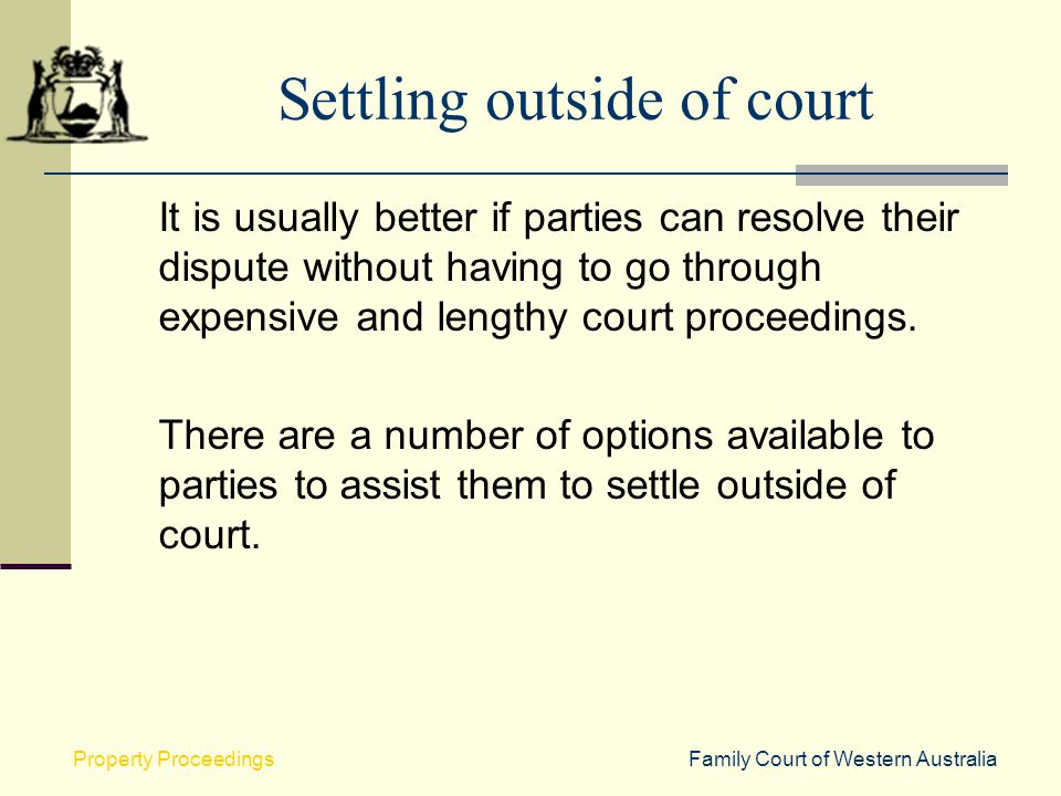 Settling outside of court
