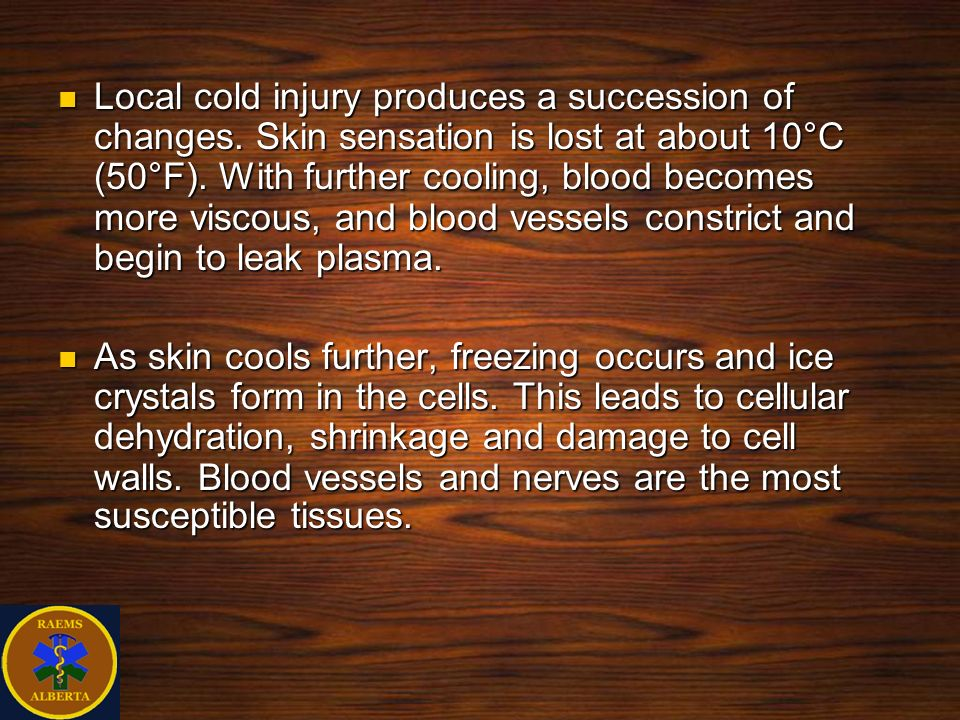 Local cold injury produces a succession of changes