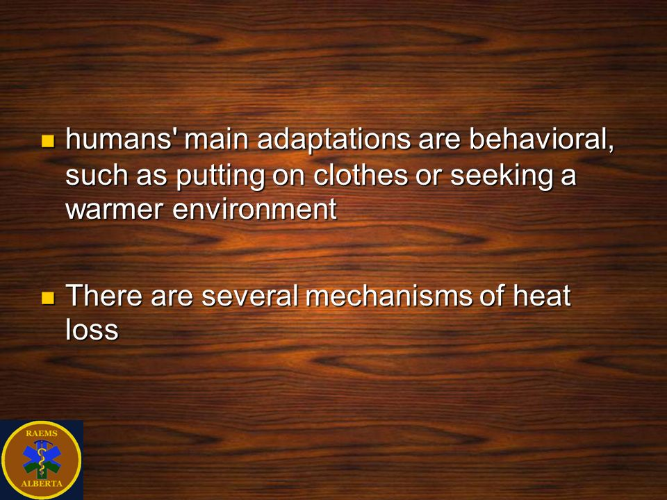 humans main adaptations are behavioral, such as putting on clothes or seeking a warmer environment