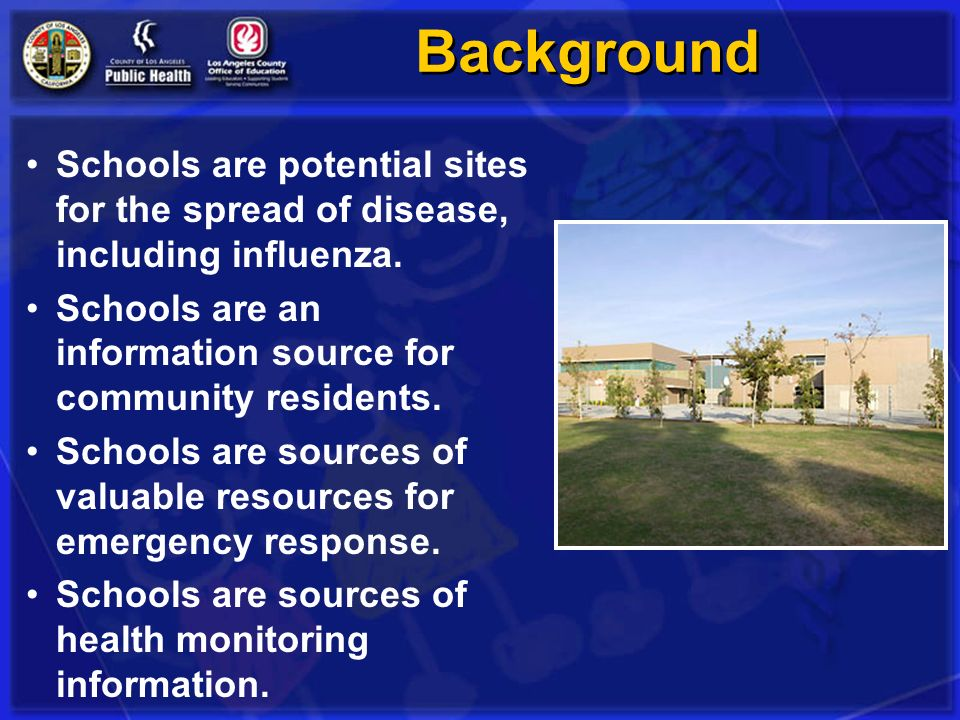 Background Schools are potential sites for the spread of disease, including influenza. Schools are an information source for community residents.