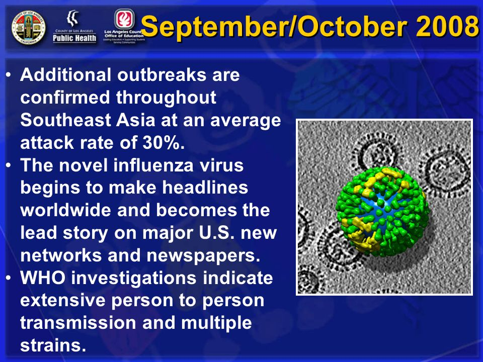 September/October 2008 Additional outbreaks are confirmed throughout Southeast Asia at an average attack rate of 30%.