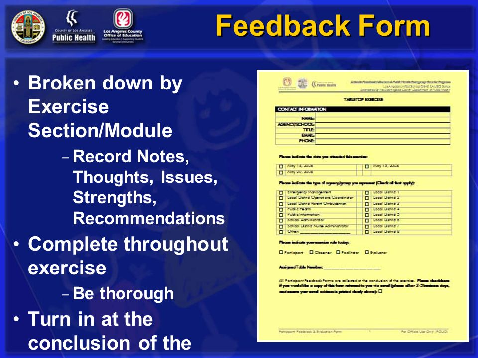 Feedback Form Broken down by Exercise Section/Module