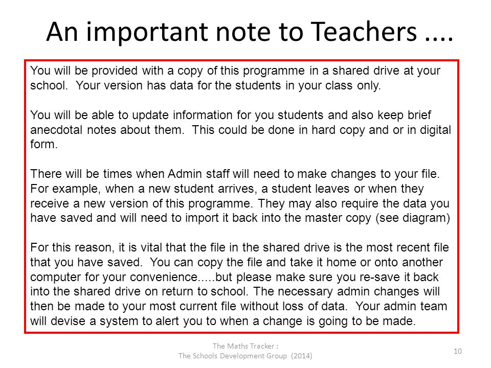 An important note to Teachers ....